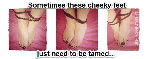Taming these cheeky feet. Girly gothic black toe polish, leather bound ankles and naked bare feet.