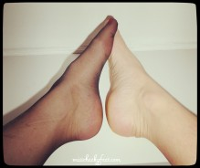 soles together on stocking