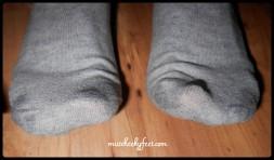 sweaty grey ankle socks
