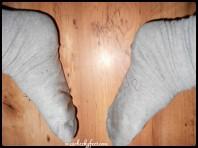 sweaty grey socks soles