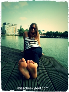 my feet, soles, bare foot by water