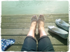 Feet over water