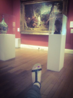 feet art, painting, Usher Gallery, black sandals