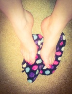 stepping on slippers, pink toes, feet out of slippers, arches, polka dot slippers, my slippers, well worn slippers, slipper socks, dotty slippers, slippers photo set, my feet, slipper fetish