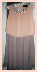 Pastel dress with embellished peter pan collar.
