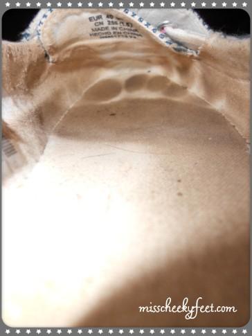 sweaty insole right boat shoe imprints