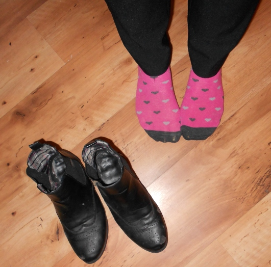 Pink heart ankle socks