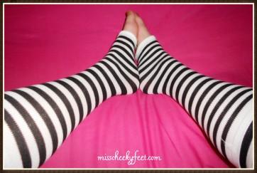 long striped toeless socks